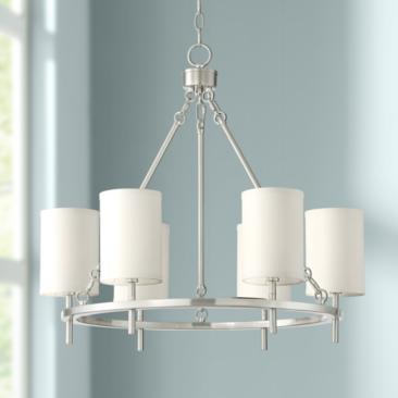 "Possini Euro Wilson 25""W Brushed Nickel 6-Light Chandelier"