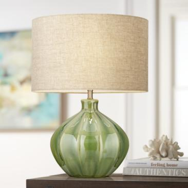 Gordy Green Ribbed Ceramic Table Lamp