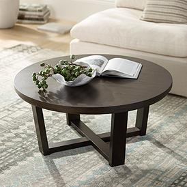 Conrad 40 Wide Dark Brown Wood Round Coffee Table