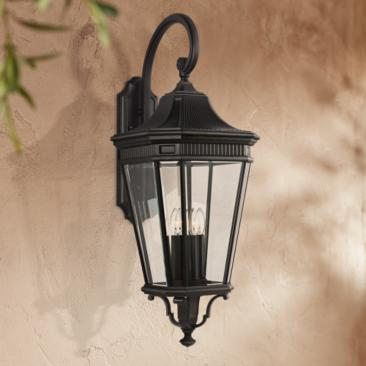 "Cotswold Lane 36 1/4""H Black and Beveled Glass Wall Light"