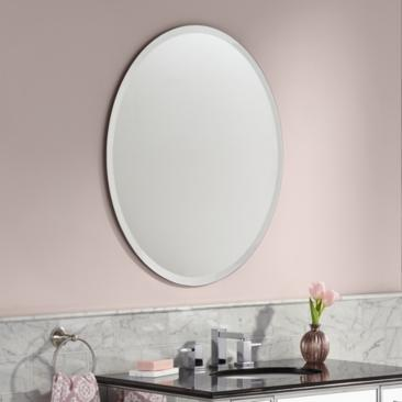 "Angelica Frameless 28"" x 32"" Beveled Oval Mirror"