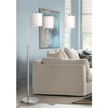 Norlan Brushed Nickel 3-Light Arc Floor Lamp w/ White Shade