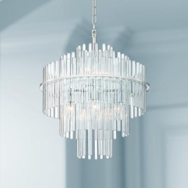 "Katya 19 1/2"" Wide Chrome and Clear Acrylic Glass Pendant"