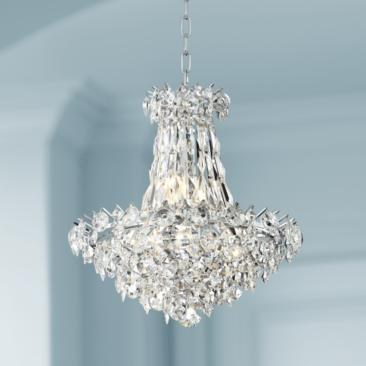 "Cascade 19"" Wide Chrome and Crystal Chandelier"