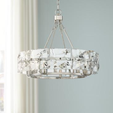 "Possini Euro Julia 24 3/4""W Chrome 8-Light Crystal Pendant"