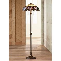 Tiffany style lamps light fixtures lamps plus heart motif patina bronze tiffany style floor lamp aloadofball Choice Image
