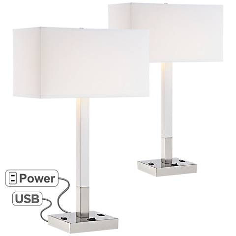 Bryce Metal Table Lamp w/ USB Port and Utility Plug Set of 2