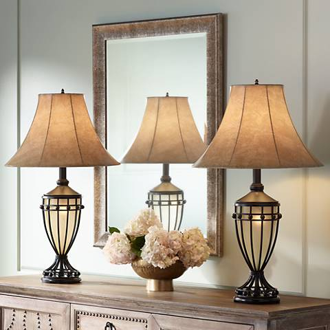 Cardiff Brushed Iron Night Light Urn Table Lamp Set of 2