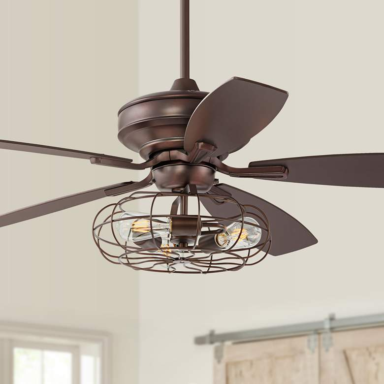 "52"" Oil Brushed Bronze Ceiling Fan W/ Cage LED Light Kit"