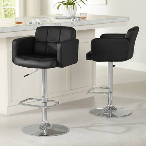 Trek Black Faux Leather Swivel Bar Stools Set of 2