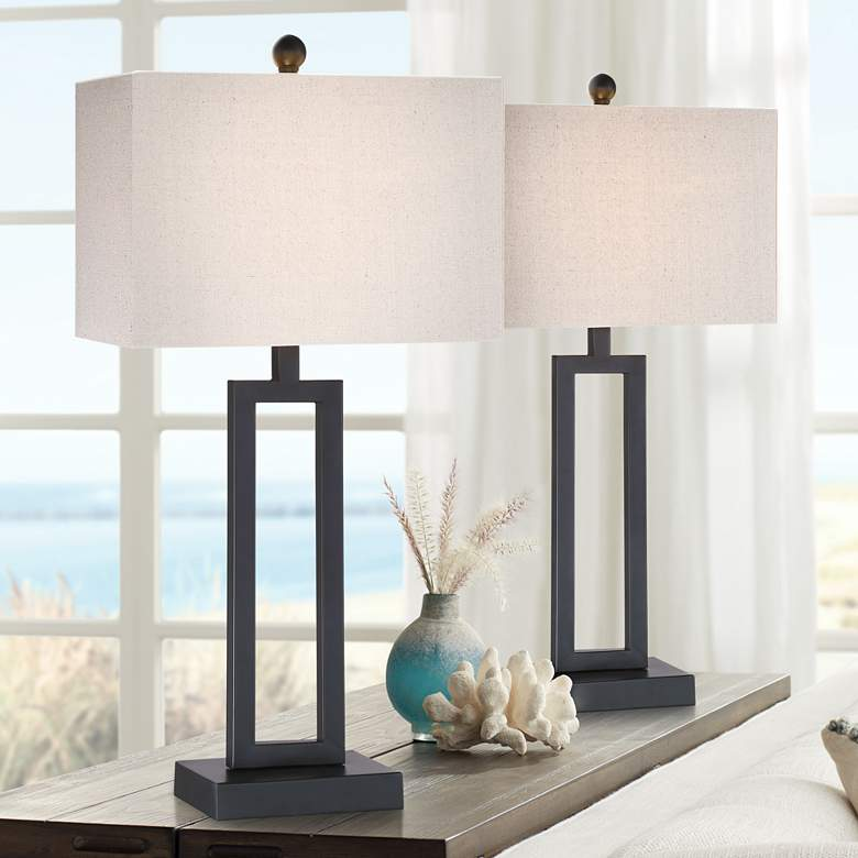 Aston Black Modern Table Lamp Set of 2