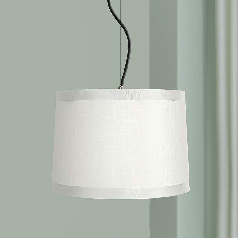 Off White Drum Shade 14 Wide Pendant Light