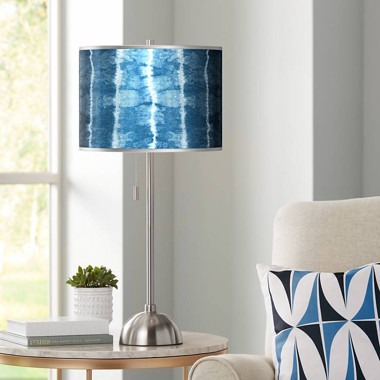 Cool Reflections Silver Metallic Giclee Nickel Table Lamp