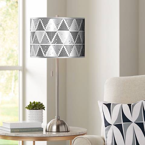 Pointillism Silver Metallic Giclee Brushed Nickel Table Lamp
