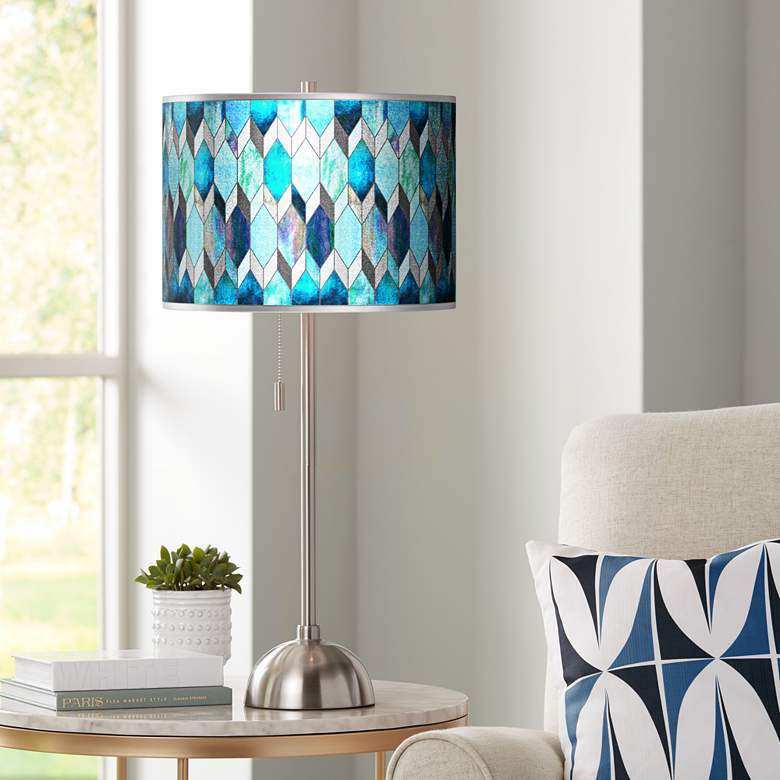 Blue Tiffany-Style Silver Metallic Brushed Nickel Table Lamp