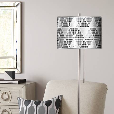 Pointillism Silver Metallic Giclee Brushed Nickel Floor Lamp