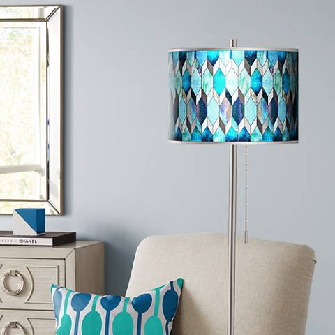 Blue Tiffany-Style Silver Metallic Brushed Nickel Floor Lamp