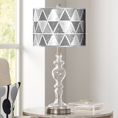 Pointillism Silver Metallic Giclee Apothecary Glass Table Lamp