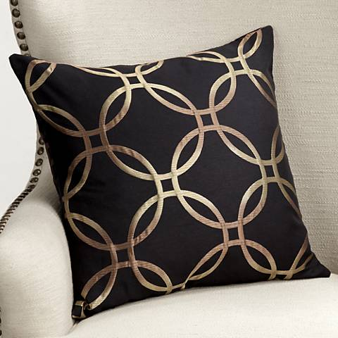 "Monza Ebony 20"" Square Throw Pillow"