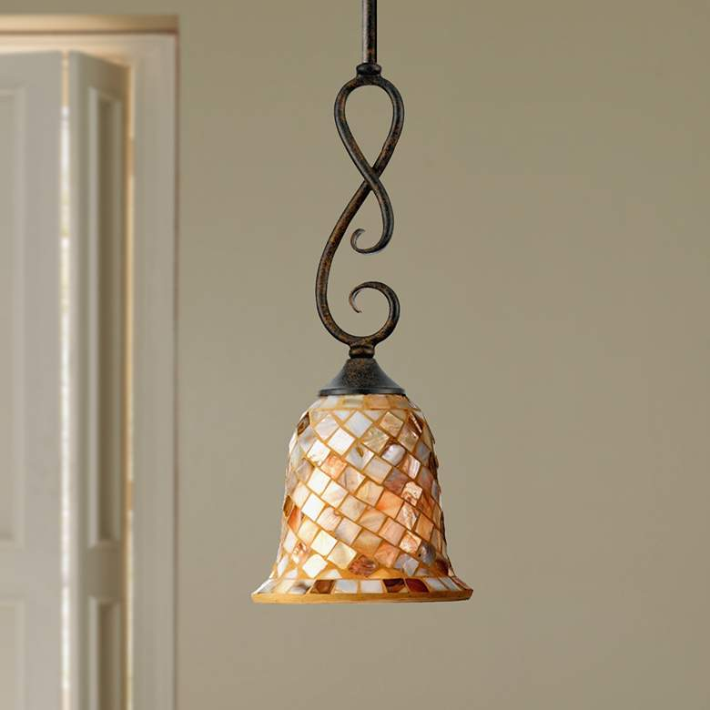 "Monterey Mosaic 6"" Wide Malaga Finish Mini Pendant"