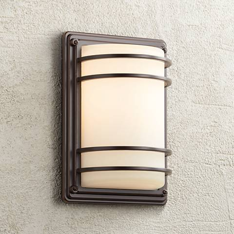 "11"" High Bronze Opal Glass Indoor-Outdoor Wall Light"