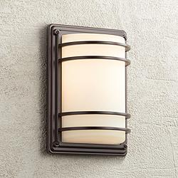 "Habitat 11"" High Bronze and Opal Glass Outdoor Wall Light"