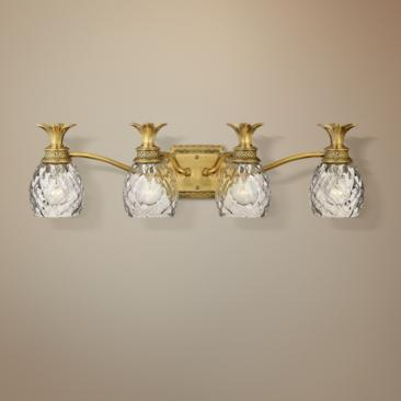 "Anana Plantation 28 1/2""W Antique Brass 4-Light Bath Light"