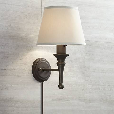 Braidy Bronze Plug-In Wall Sconce