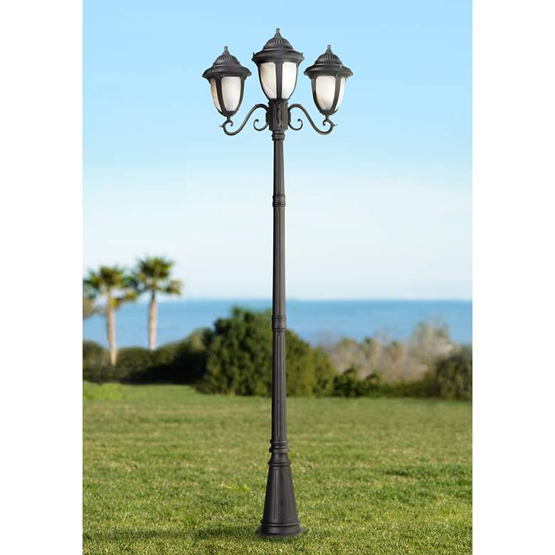 "Casa Sorrento Black Finish 90 1/2""H 3-Light Post Light"