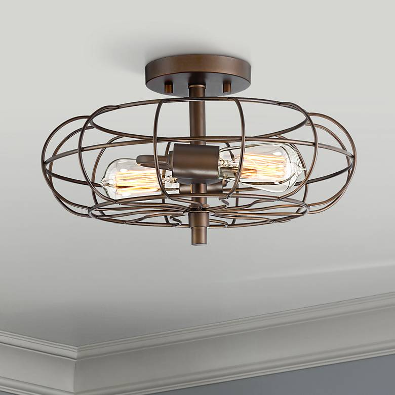 "Bartley 14 3/4"" Wide Oil Rubbed Bronze 2-Light Ceiling Light"