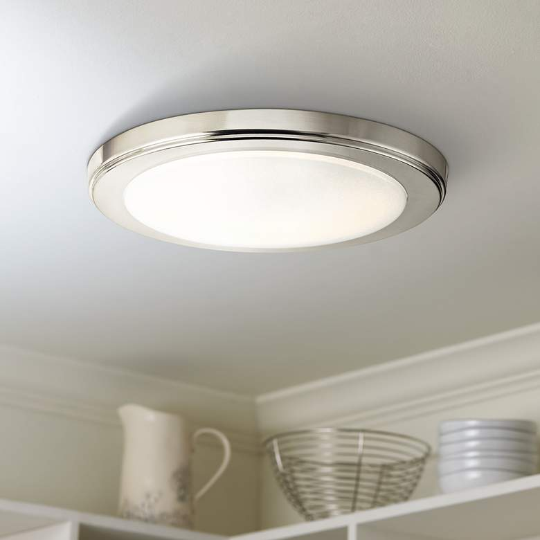 "Zeo 10"" Wide Round Brushed Nickel3000K LED Ceiling Light"