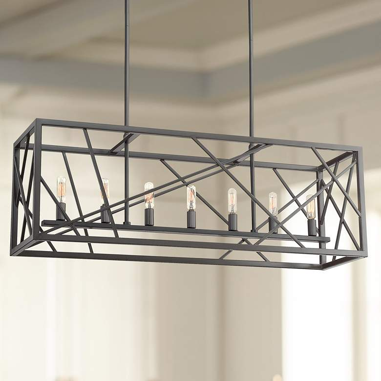 "Alvin 36"" Wide Charcoal 7-Light Open Frame Island Pendant"