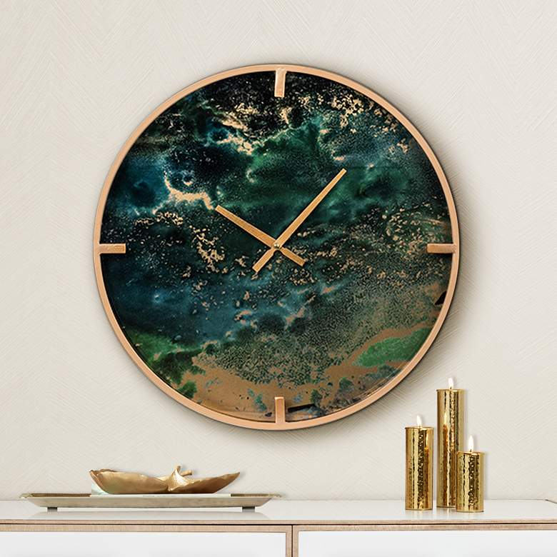 "Nebula Blue and Gold 19 3/4"" Round Wall Clock"