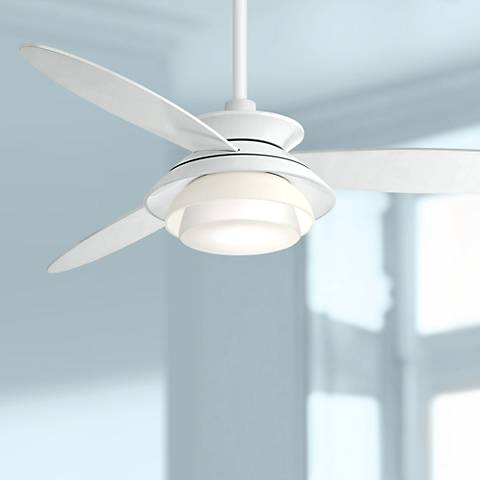 "56"" Minka Aire Stack White Dimmable LED Ceiling Fan"