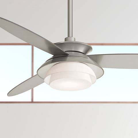 "56"" Minka Aire Stack Silver Dimmable LED Ceiling Fan"