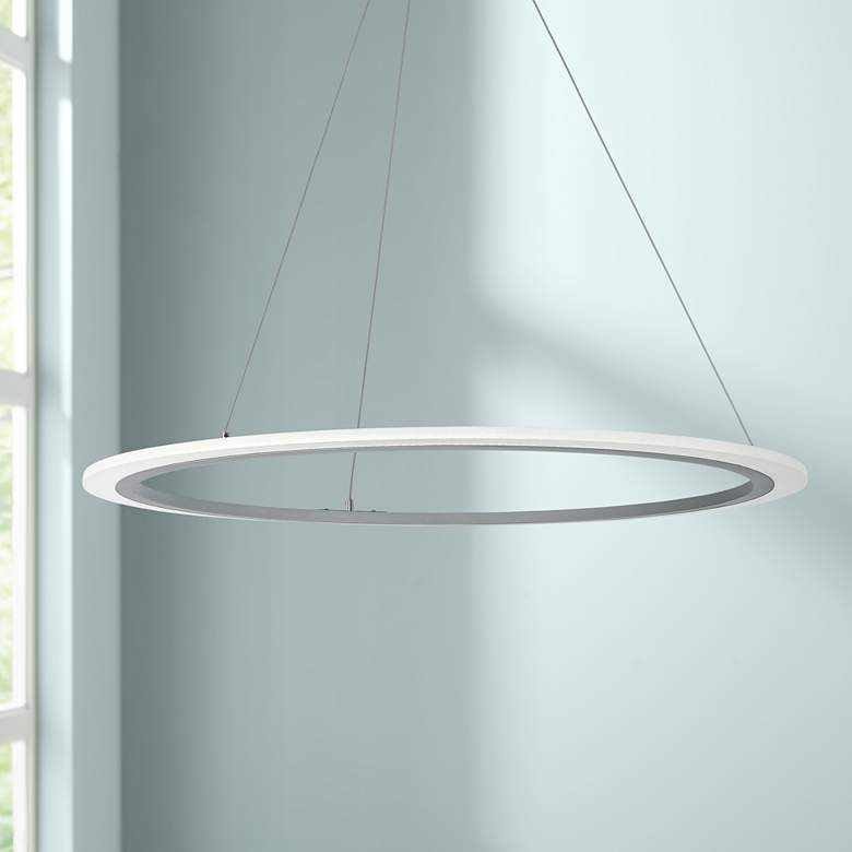 "George Kovacs Discovery 31 1/4""W Silver LED Pendant"