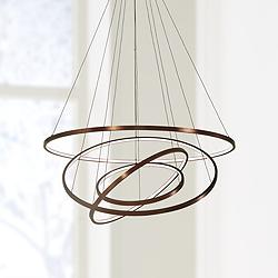 "Full Orbit 39 1/2"" Wide Satin Bronze 4-Light LED Pendant"