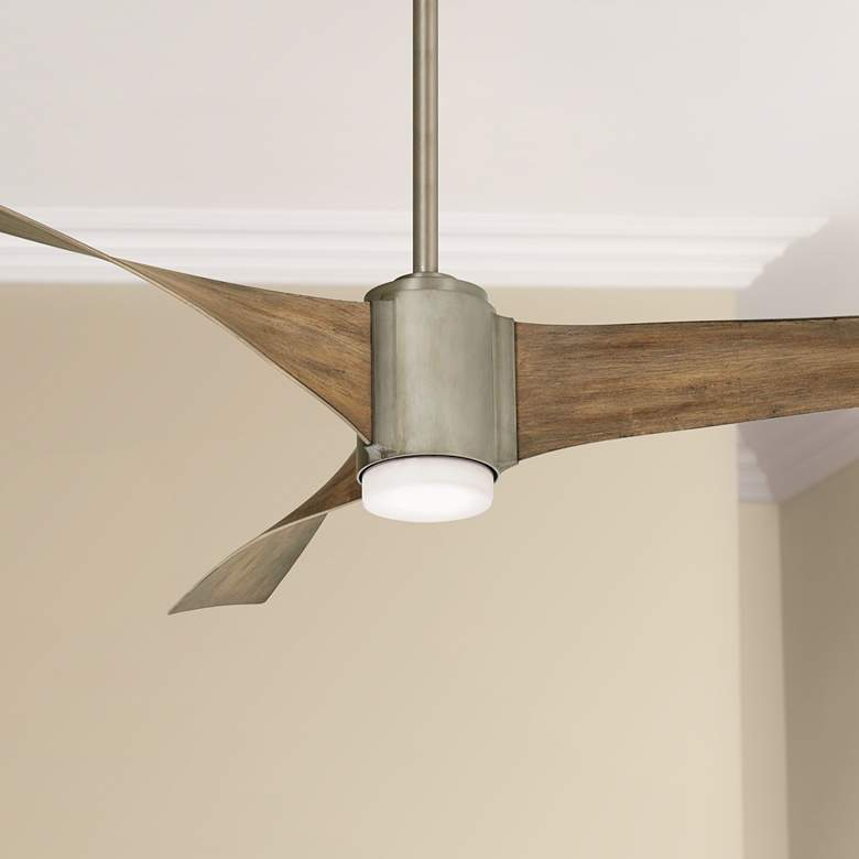"60"" Minka Aire Triple Brushed Steel LED Ceiling Fan"