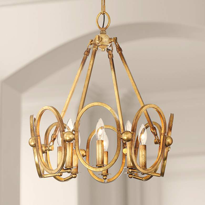 "Clairpointe 21"" Wide 8-Light Pandora Gold Leaf Chandelier"