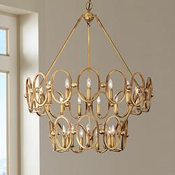 "Clairpointe 37 1/2""W 24-Light Pandora Gold Leaf Chandelier"