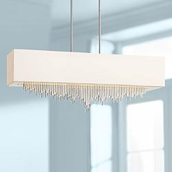 "Crystal Cascade 40""W Chrome LED Kitchen Island Light Pendant"