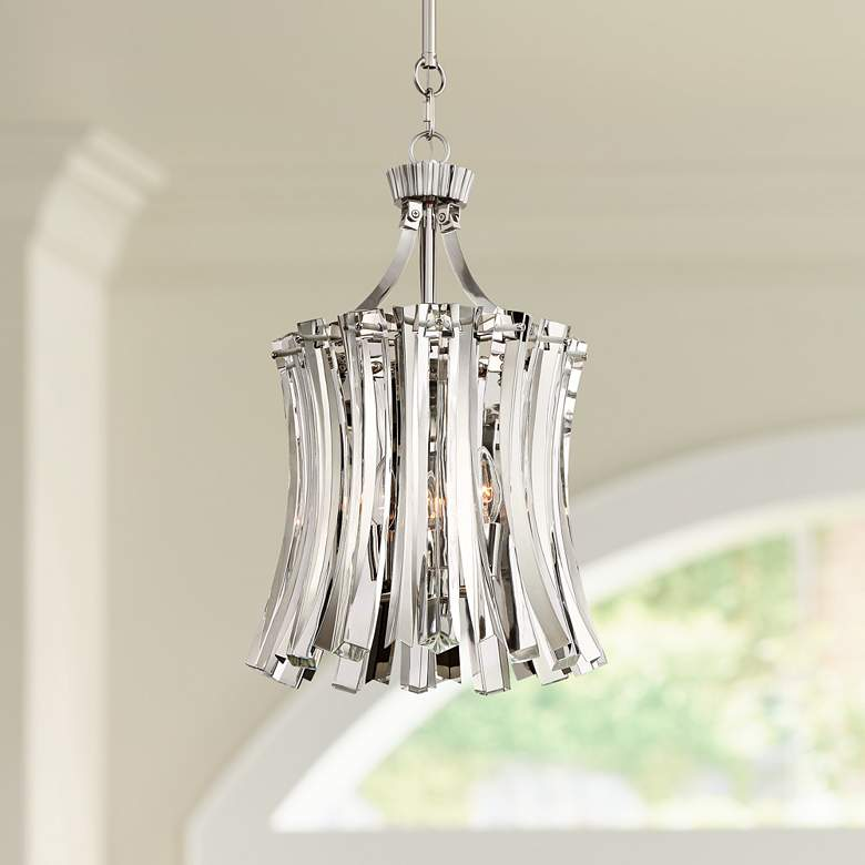 "Elegance Royale 12"" Wide Polished Nickel Mini Pendant"