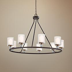 "Studio 5 45"" Wide Painted Bronze 9-Light Chandelier"