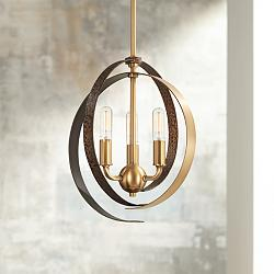"Criterium 12""W Brass and Textured Iron 3-Light Mini Pendant"