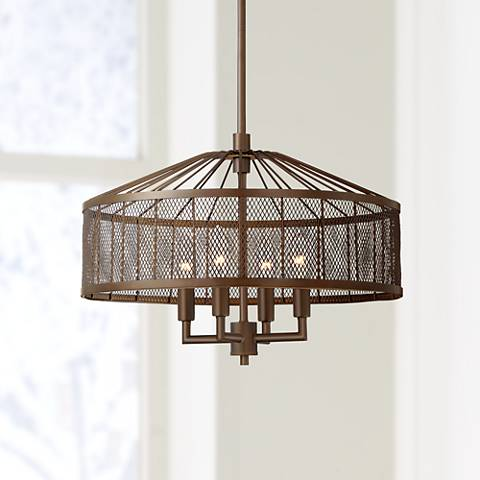 "Dresden 18"" Wide Bronze Iron Lattice 4-Light Pendant"