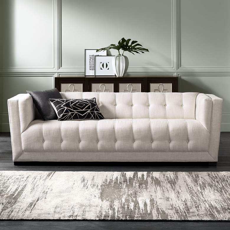 "Arden 94 1/2"" Wide Cream Tufted Textured Fabric Sofa"