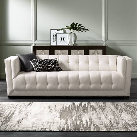 Arden Cream Tufted Textured Fabric Sofa