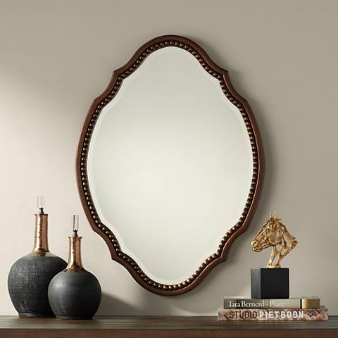 "Arabela Bronze Beaded 25 3/4"" x 35 1/2"" Oval Cut Mirror"