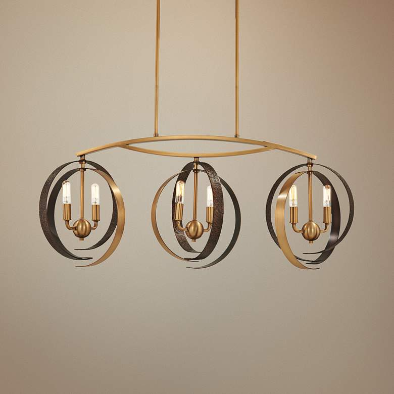 "Criterium 40""W Brass and Iron Kitchen Island Light"