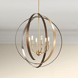 "Criterium 30""W Aged Brass and Textured Iron 6-Light Pendant"